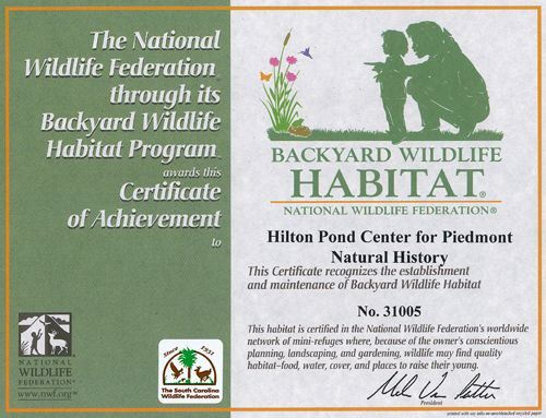 Backyard Wildlife Habitat Certificate, National Wildlife Federation
